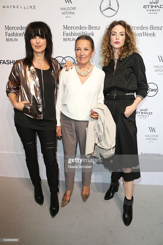 Singer Nena with her mother Ursula Griebner and her daughter <a gi-track='captionPersonalityLinkClicked' href=/galleries/search?phrase=Larissa+Kerner&family=editorial&specificpeople=12959588 ng-click='$event.stopPropagation()'>Larissa Kerner</a> at the Minx by Eva Lutz show during the Mercedes-Benz Fashion Week Berlin Spring/Summer 2017 at Erika Hess Eisstadion on June 29, 2016 in Berlin, Germany.
