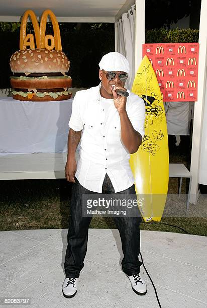 Singer NeYo performs during the McDonald's Big Mac 40th Birthday Party at Project Beach House in Malibu California on July 27 2008