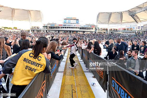 Singer NeYo performs in the crowd during 1027 KIIS FM's 2015 Wango Tango at StubHub Center on May 9 2015 in Los Angeles California