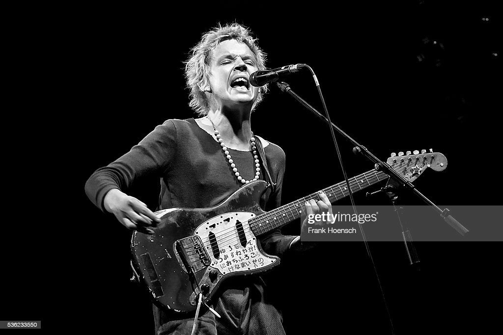 Image has been converted to black and white.) Singer Nicholas Allbrook performs live during a concert at the Postbahnhof on May 31, 2016 in Berlin, Germany.