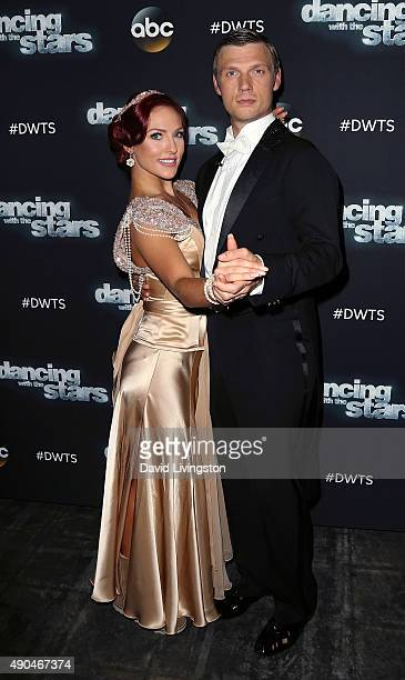 Singer Nick Carter and dancer/TV personality Sharna Burgess attend 'Dancing with the Stars' Season 21 at CBS Televison City on September 28 2015 in...