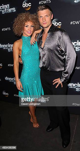 Singer Nick Carter and dancer/TV personality Sharna Burgess attend 'Dancing with the Stars' Season 21 at CBS Television City on October 19 2015 in...