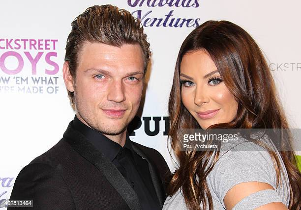 Singer Nick Carter and his Wife Lauren Kitt attend the premiere of the 'Backstreet Boys Show 'Em What You're Made Of' at the ArcLight Cinemas...