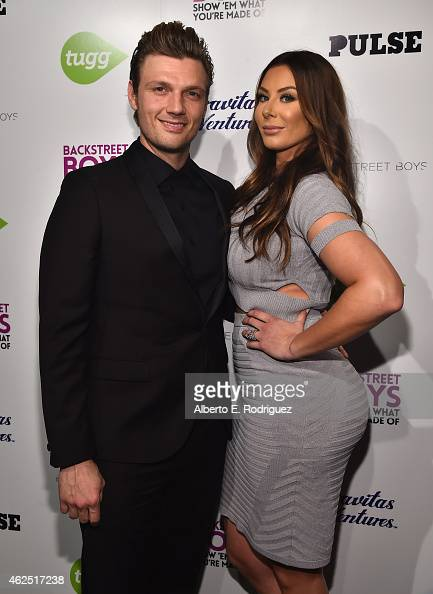 Singer Nick Carter and Lauren Kitt attend the premiere of Gravitas Ventures' 'Backstreet Boys Show 'Em What You're Made Of' at on January 29 2015 in...