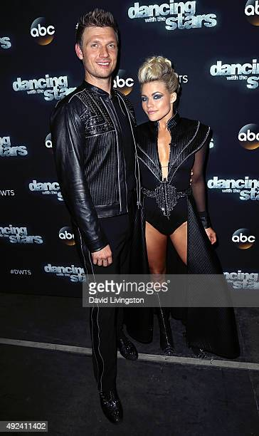 Singer Nick Carter and TV personality/dancer Witney Carson attend 'Dancing with the Stars' Season 21 at CBS Televison City on October 12 2015 in Los...