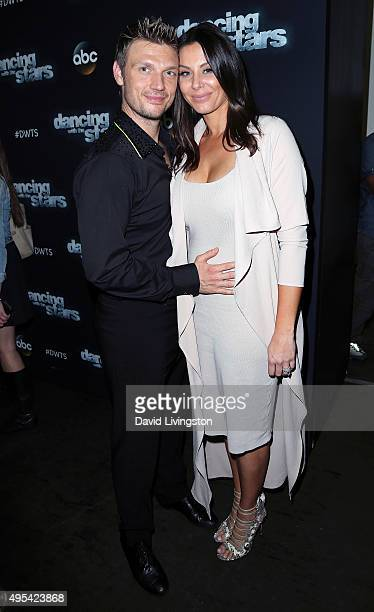 Singer Nick Carter and wife Lauren Kitt attend 'Dancing with the Stars' Season 21 at CBS Televison City on November 2 2015 in Los Angeles California