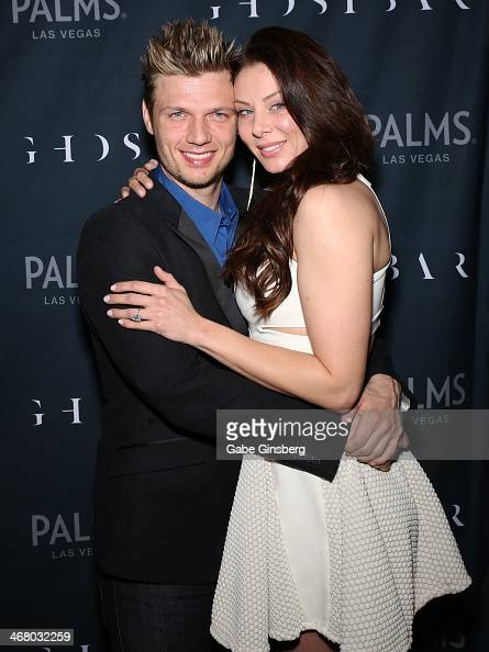 Singer Nick Carter of Backstreet Boys and his fiancee Lauren Kitt arrive to celebrate their coed bachelor and bachelorette party at Ghostbar at the...
