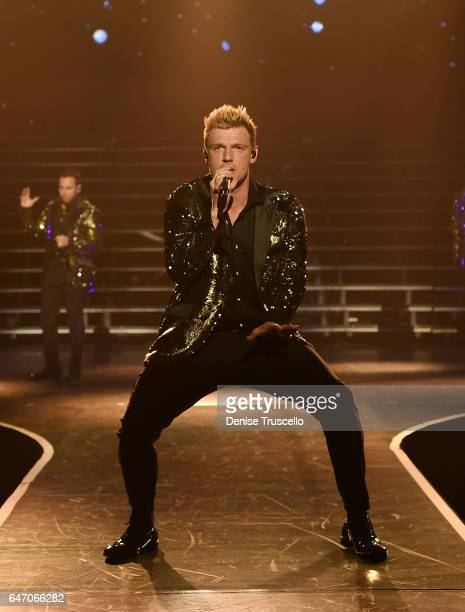 Singer Nick Carter of the Backstreet Boys perform during the launch of the group's residency 'Larger Than Life' at The Axis at Planet Hollywood...