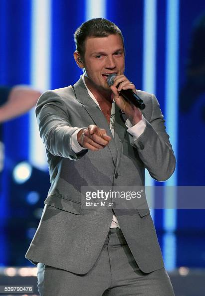 Singer Nick Carter of the Backstreet Boys performs during the 2016 Miss USA pageant at TMobile Arena on June 5 2016 in Las Vegas Nevada