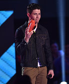Singer Nick Jonas accepts award for Favorite Male Singer onstage during Nickelodeon's 28th Annual Kids' Choice Awards held at The Forum on March 28...