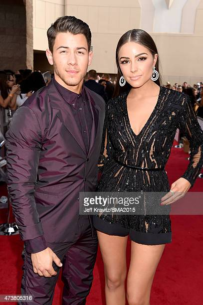Singer Nick Jonas and Olivia Culpo attend the 2015 Billboard Music Awards at MGM Grand Garden Arena on May 17 2015 in Las Vegas Nevada