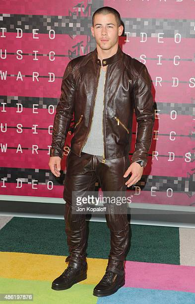 Singer Nick Jonas arrives at the 2015 MTV Video Music Awards at Microsoft Theater on August 30 2015 in Los Angeles California
