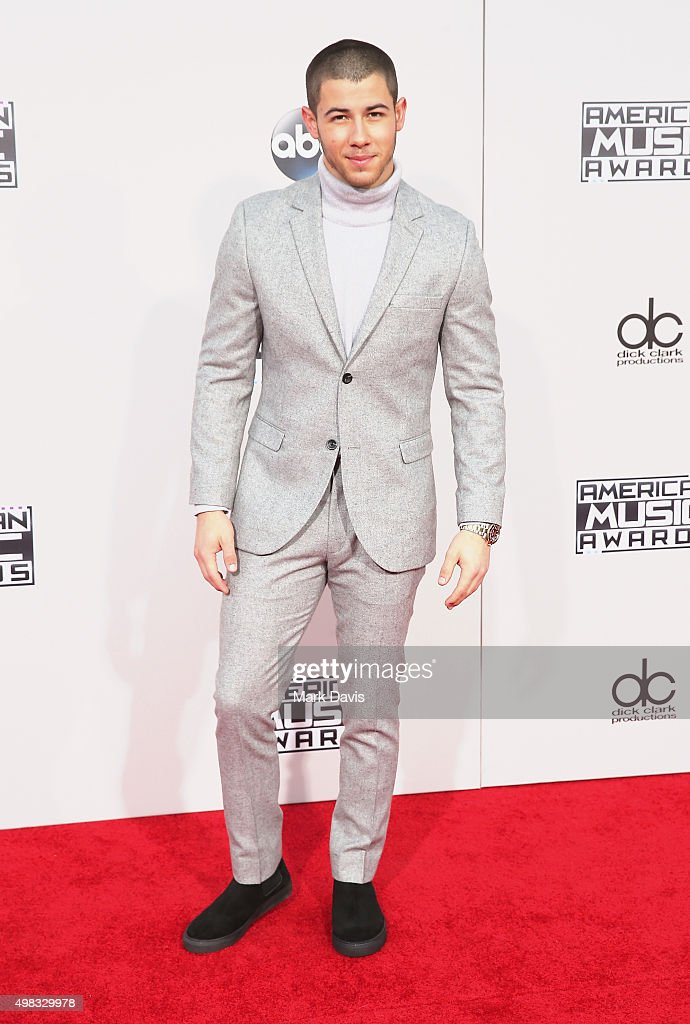 Singer <a gi-track='captionPersonalityLinkClicked' href=/galleries/search?phrase=Nick+Jonas&family=editorial&specificpeople=842713 ng-click='$event.stopPropagation()'>Nick Jonas</a> attends the 2015 American Music Awards at Microsoft Theater on November 22, 2015 in Los Angeles, California.