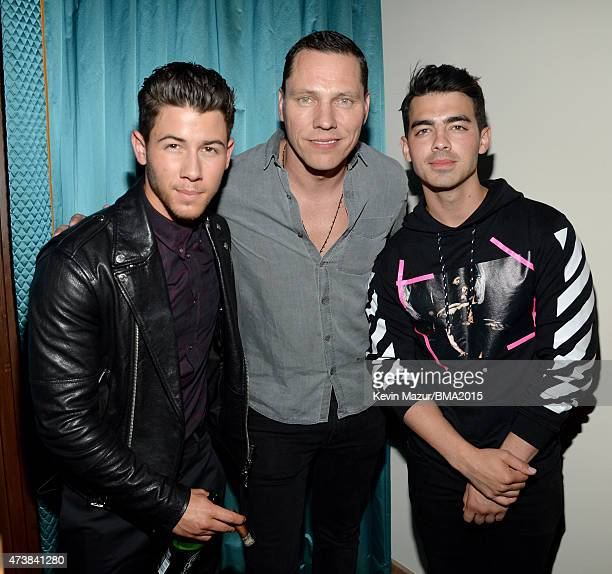 Singer Nick Jonas DJ Tiesto and singer Joe Jonas attend the Nick Jonas 'Live In Concert' Tour Announcement and Billboard Music Awards After Party at...