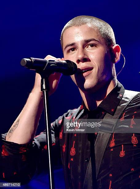 Singer Nick Jonas performs at the 2015 iHeartRadio Music Festival at the MGM Grand Garden Arena on September 19 2015 in Las Vegas Nevada