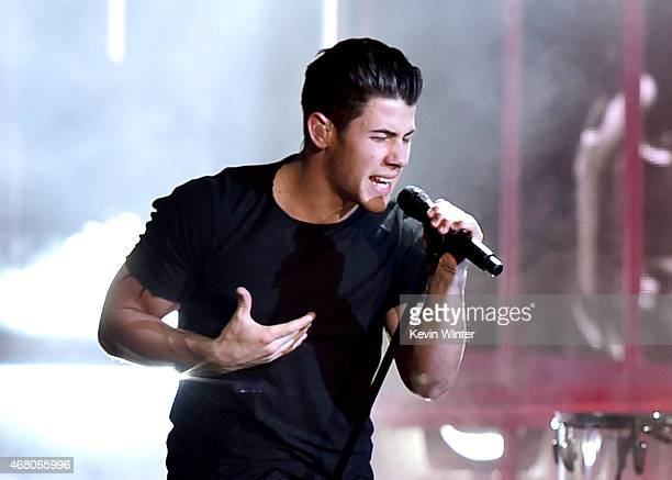 Singer Nick Jonas performs onstage during the 2015 iHeartRadio Music Awards which broadcasted live on NBC from The Shrine Auditorium on March 29 2015...