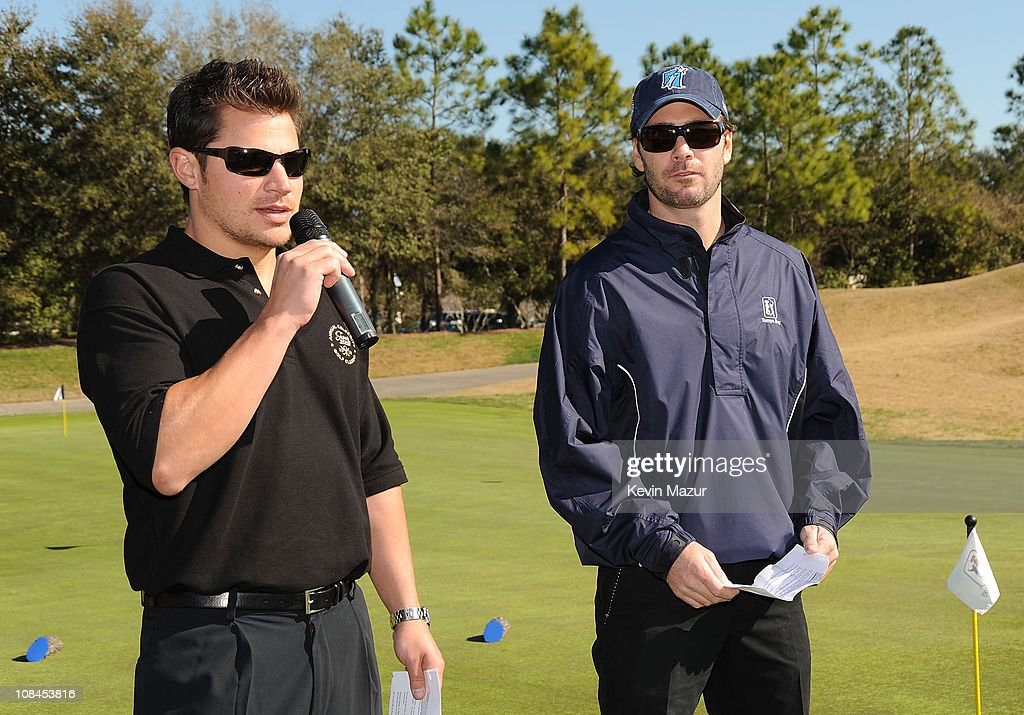 Singer <a gi-track='captionPersonalityLinkClicked' href=/galleries/search?phrase=Nick+Lachey&family=editorial&specificpeople=201832 ng-click='$event.stopPropagation()'>Nick Lachey</a> and Nascar Sprint Cup driver <a gi-track='captionPersonalityLinkClicked' href=/galleries/search?phrase=Jimmie+Johnson+-+Pilota+Nascar&family=editorial&specificpeople=171519 ng-click='$event.stopPropagation()'>Jimmie Johnson</a> attend the Super Skins Annual Celebrity Charity Golf Classic with <a gi-track='captionPersonalityLinkClicked' href=/galleries/search?phrase=Nick+Lachey&family=editorial&specificpeople=201832 ng-click='$event.stopPropagation()'>Nick Lachey</a> and <a gi-track='captionPersonalityLinkClicked' href=/galleries/search?phrase=Jimmie+Johnson+-+Pilota+Nascar&family=editorial&specificpeople=171519 ng-click='$event.stopPropagation()'>Jimmie Johnson</a> at TPC Tampa Bay on January 31, 2009 in Tampa, Florida.