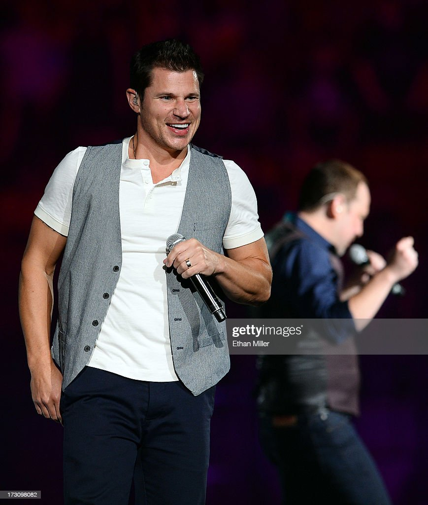 Singer Nick Lachey of 98 Degrees performs at the Mandalay Bay Events Center during The Package Tour on July 6, 2013 in Las Vegas, Nevada.