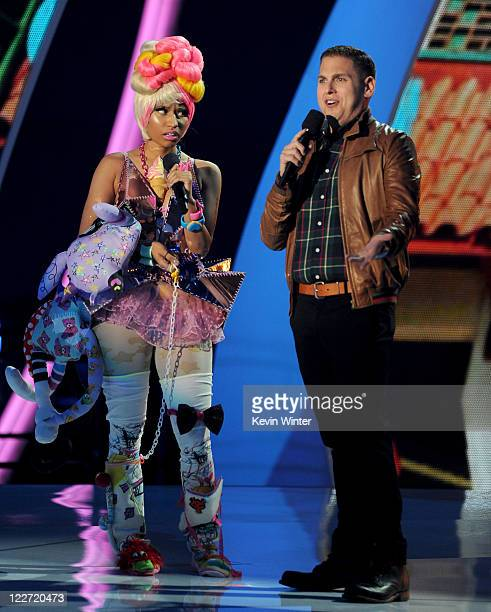 Singer Nicki Minaj and actor Jonah Hill perform onstage during the 2011 MTV Video Music Awards at Nokia Theatre LA LIVE on August 28 2011 in Los...
