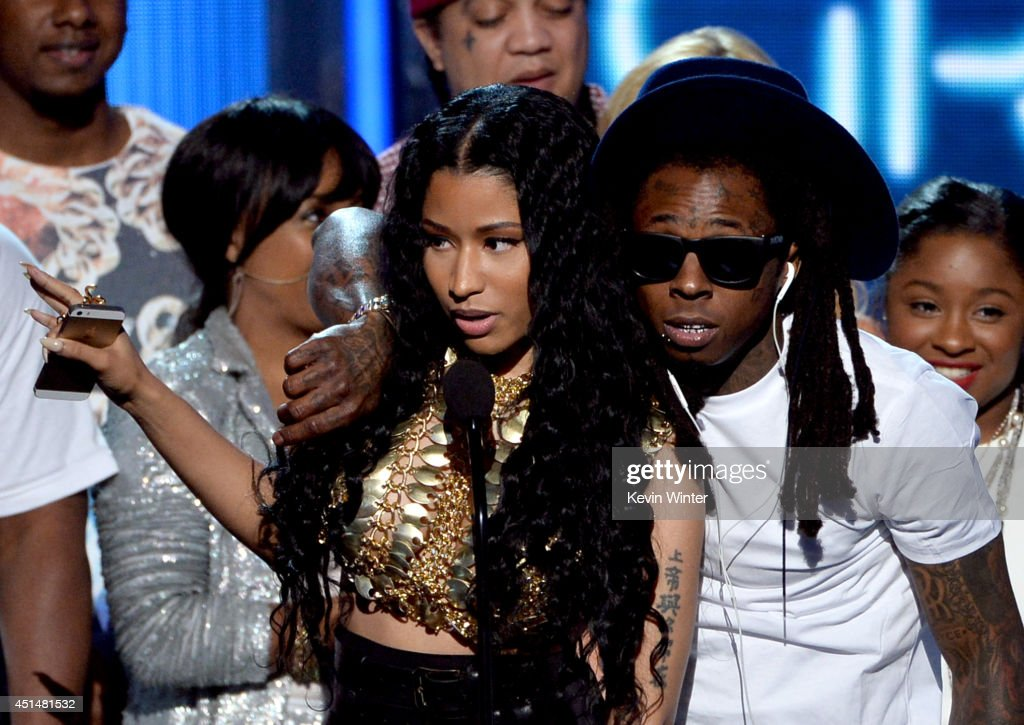 Singer Nicki Minaj and rapper Lil Wayne of Young Money accept Best Group onstage during the BET AWARDS '14 at Nokia Theatre LA LIVE on June 29 2014...