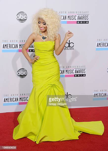 Singer Nicki Minaj arrives at the 40th Anniversary American Music Awards at Nokia Theatre LA Live on November 18 2012 in Los Angeles California
