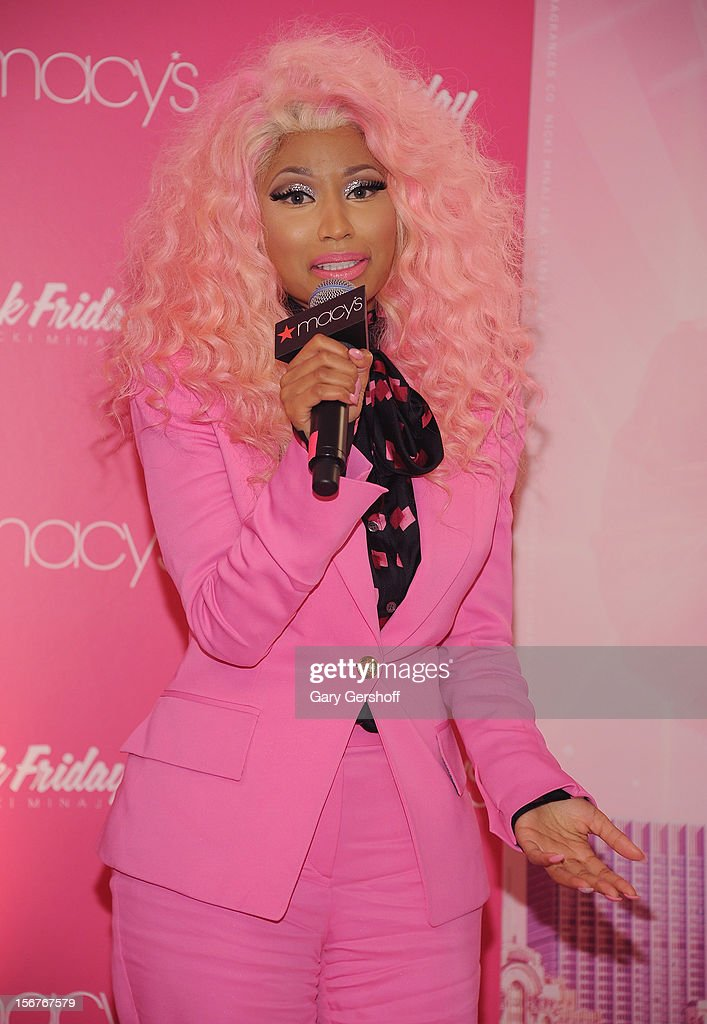Singer <a gi-track='captionPersonalityLinkClicked' href=/galleries/search?phrase=Nicki+Minaj+-+Artiste+de+spectacle&family=editorial&specificpeople=6362705 ng-click='$event.stopPropagation()'>Nicki Minaj</a> attends <a gi-track='captionPersonalityLinkClicked' href=/galleries/search?phrase=Nicki+Minaj+-+Artiste+de+spectacle&family=editorial&specificpeople=6362705 ng-click='$event.stopPropagation()'>Nicki Minaj</a>'s 'Pink Friday' Fragrance Holiday Season Celebration at Macy's Queens Center on November 20, 2012 in New York City.