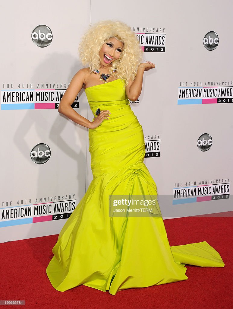 Singer <a gi-track='captionPersonalityLinkClicked' href=/galleries/search?phrase=Nicki+Minaj+-+Artieste&family=editorial&specificpeople=6362705 ng-click='$event.stopPropagation()'>Nicki Minaj</a> attends the 40th American Music Awards held at Nokia Theatre L.A. Live on November 18, 2012 in Los Angeles, California.