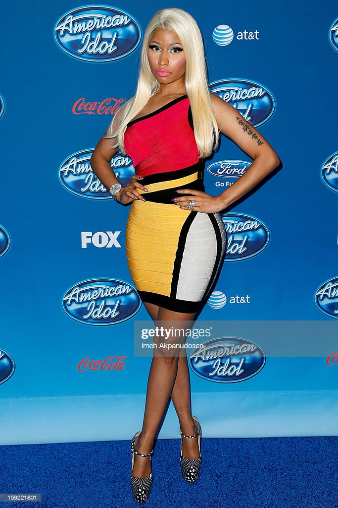 Singer <a gi-track='captionPersonalityLinkClicked' href=/galleries/search?phrase=Nicki+Minaj+-+Artieste&family=editorial&specificpeople=6362705 ng-click='$event.stopPropagation()'>Nicki Minaj</a> attends the season premiere screening of Fox's 'American Idol' at Royce Hall, UCLA on January 9, 2013 in Westwood, California.