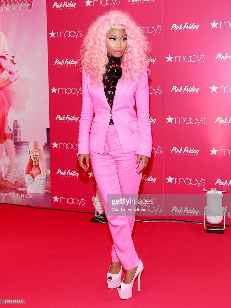 Singer <a gi-track='captionPersonalityLinkClicked' href=/galleries/search?phrase=Nicki+Minaj+-+Artist&family=editorial&specificpeople=6362705 ng-click='$event.stopPropagation()'>Nicki Minaj</a> introduces 'Pink Friday' Fragrance Holiday Season Celebration at Macy's Queens Center on November 20, 2012 in the Queens borough of New York City.