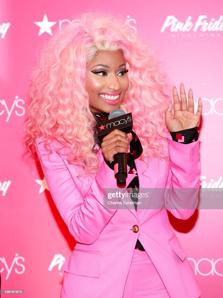 Singer <a gi-track='captionPersonalityLinkClicked' href=/galleries/search?phrase=Nicki+Minaj+-+Performer&family=editorial&specificpeople=6362705 ng-click='$event.stopPropagation()'>Nicki Minaj</a> introduces 'Pink Friday' Fragrance Holiday Season Celebration at Macy's Queens Center on November 20, 2012 in the Queens borough of New York City.