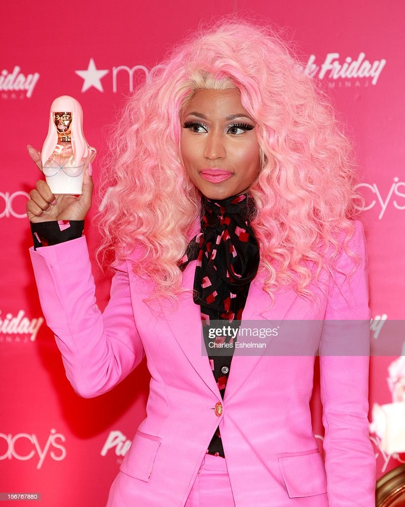 Singer <a gi-track='captionPersonalityLinkClicked' href=/galleries/search?phrase=Nicki+Minaj+-+K%C3%BCnstlerin&family=editorial&specificpeople=6362705 ng-click='$event.stopPropagation()'>Nicki Minaj</a> introduces 'Pink Friday' Fragrance Holiday Season Celebration at Macy's Queens Center on November 20, 2012 in the Queens borough of New York City.