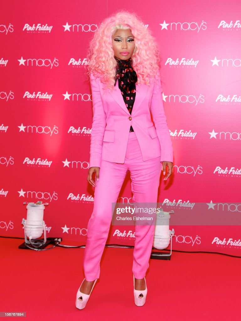 Singer <a gi-track='captionPersonalityLinkClicked' href=/galleries/search?phrase=Nicki+Minaj+-+Artieste&family=editorial&specificpeople=6362705 ng-click='$event.stopPropagation()'>Nicki Minaj</a> introduces 'Pink Friday' Fragrance Holiday Season Celebration at Macy's Queens Center on November 20, 2012 in the Queens borough of New York City.