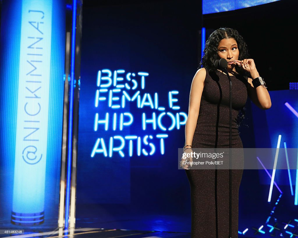Singer <a gi-track='captionPersonalityLinkClicked' href=/galleries/search?phrase=Nicki+Minaj+-+Performer&family=editorial&specificpeople=6362705 ng-click='$event.stopPropagation()'>Nicki Minaj</a> speaks onstage during the BET AWARDS '14 at Nokia Theatre L.A. LIVE on June 29, 2014 in Los Angeles, California.