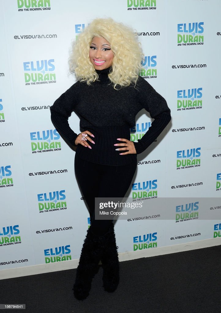 Singer <a gi-track='captionPersonalityLinkClicked' href=/galleries/search?phrase=Nicki+Minaj+-+Artista&family=editorial&specificpeople=6362705 ng-click='$event.stopPropagation()'>Nicki Minaj</a> visits at Z100 Studio on November 21, 2012 in New York City.