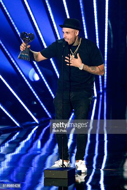 Singer Nicky Jam onstage during the iHeartRadio Music Awards at The Forum on April 3 2016 in Inglewood California