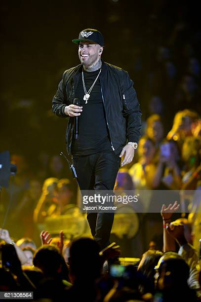 Singer Nicky Jam performs on stage at iHeartRadio Fiesta Latina at American Airlines Arena on November 5 2016 in Miami Florida