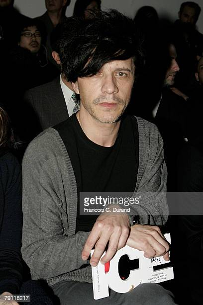 Singer Nicolas Sirkis attends the John Galliano Paris Menswear Fashion Week AutumnWinter 20082009 ReadytoWear show at the Musee de l'Homme on January...