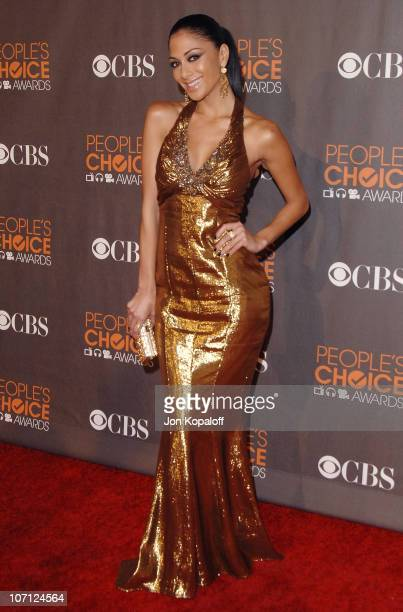 Singer Nicole Scherzinger arrives at the People's Choice Awards 2010 Arrivals at Nokia Theatre LA Live on January 6 2010 in Los Angeles California