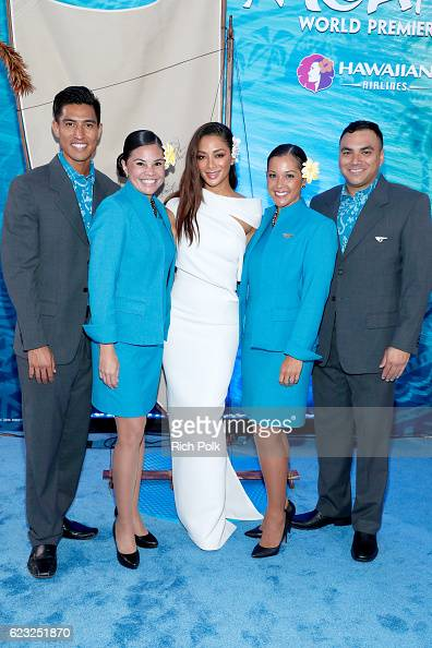 Singer Nicole Scherzinger is seen with the Hawaiian Airlines promo team at the Hawaiian Airlines booth at the world premiere of Disney's 'Moana' at...