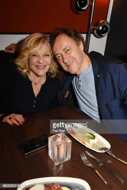 Singer Nicoletta and Jean Christophe Molinierr attend Olivier Michel Private Dinner Party at Sens Uniques Restaurant on October 10 2017 in Paris...