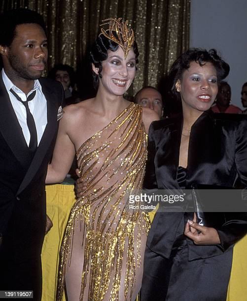 Singer Nile Rodgers singer Cher and singer Alfa Anderson attend the Billboard Magazine's 1979 Disco Convention on February 28 1979 at the New York...