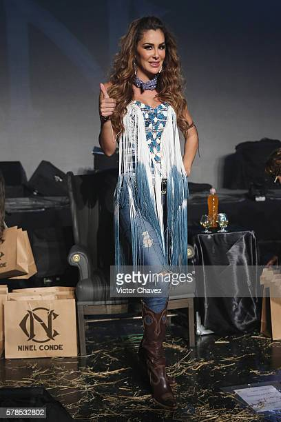 Singer Ninel Conde attends a press conference to promote her new single 'Te Pesara' at 360 on July 21 2016 in Mexico City Mexico