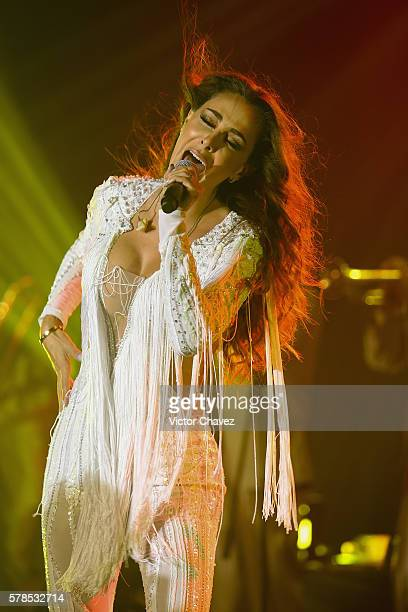 Singer Ninel Conde performs a showcase for the press to promote her new single 'Te Pesara' at 360 on July 21 2016 in Mexico City Mexico