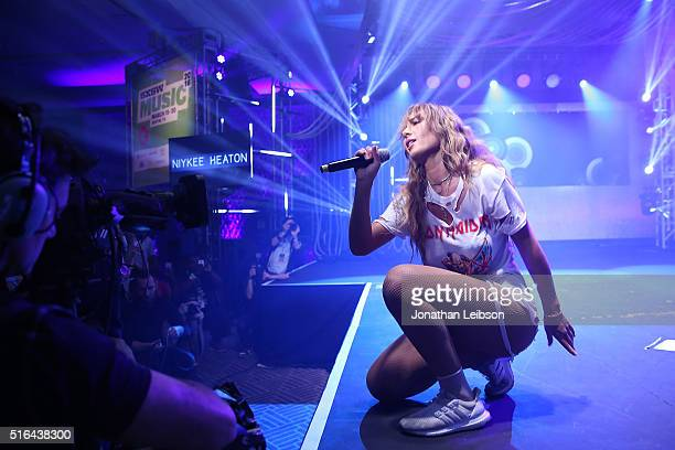 Singer Niykee Heaton performs on stage at Music Is Universal Styldby Gap presented by Marriott Rewards and Universal Music Group during SXSW at the...