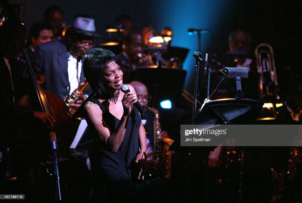 Singer Nnenna Freelon performs at the Great Night In Harlem Benefit Concert at the Apollo Theater on May 29 2008 in New York City