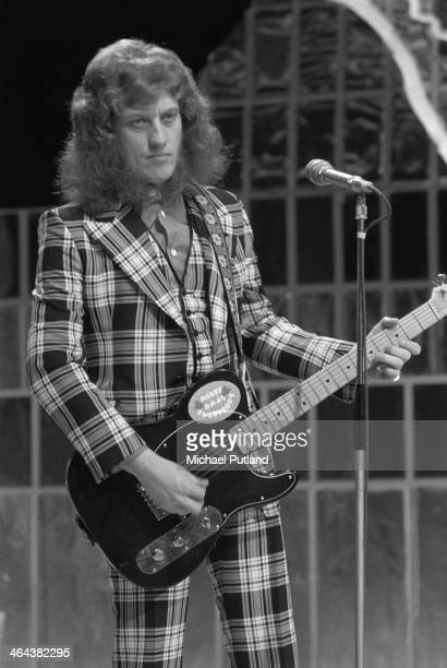 Singer Noddy Holder performing with English rock group Slade on the Christmas Day edition of the BBC TV music show 'Top Of The Pops' broadcast 25th...