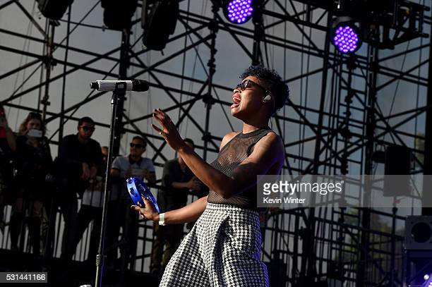 Singer Noelle Scaggs of the band Fitz and the Tantrums performs onstage at KROQ Weenie Roast 2016 at Irvine Meadows Amphitheatre on May 14 2016 in...