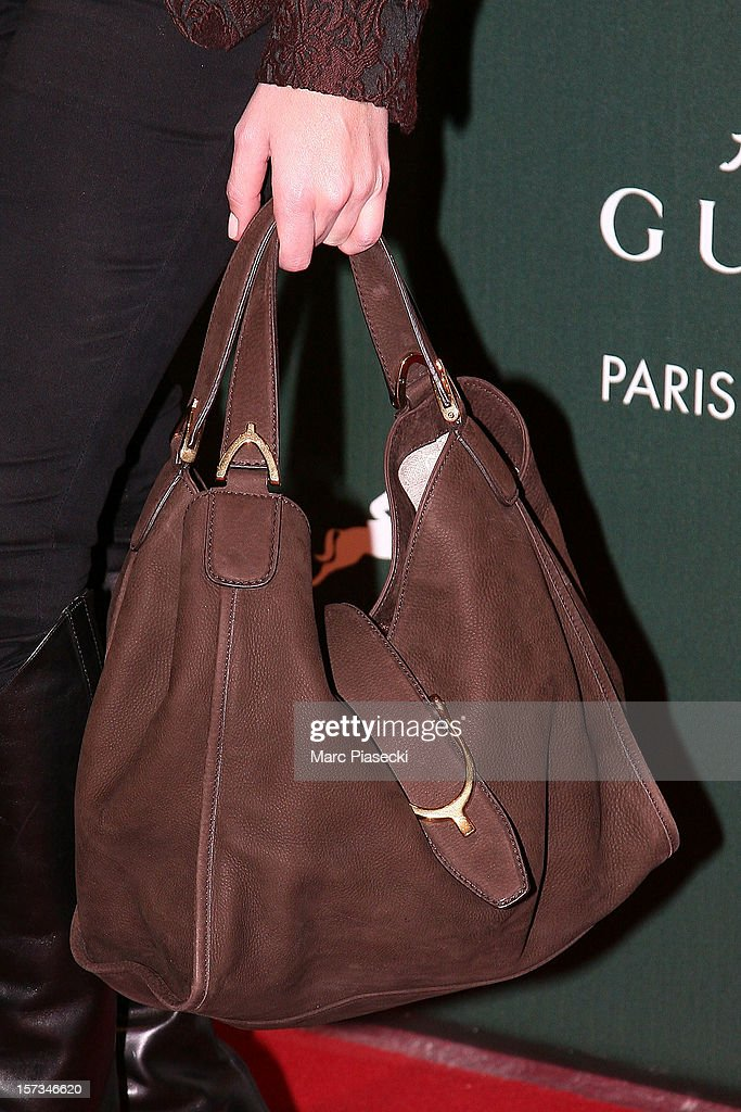 Singer Nolwenn Leroy (handbag detail) attends the 'Gucci Paris Masters 2012' at Paris Nord Villepinte on December 2, 2012 in Paris, France.