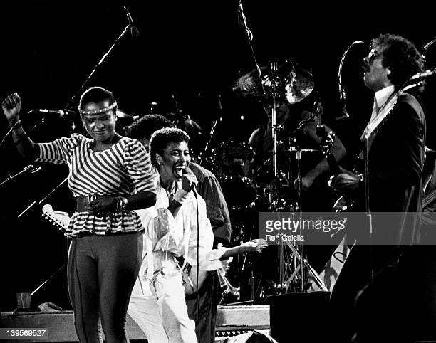 Singer Nona Hendryx and musician Carlos Santa perform at Musicourt '82 Benefit on August 27 1982 at Forst Hills Stadium in New York City