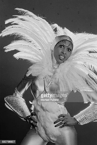 Singer Nona Hendryx of American vocal group Labelle wearing a spectacular feathered costume 27th February 1975